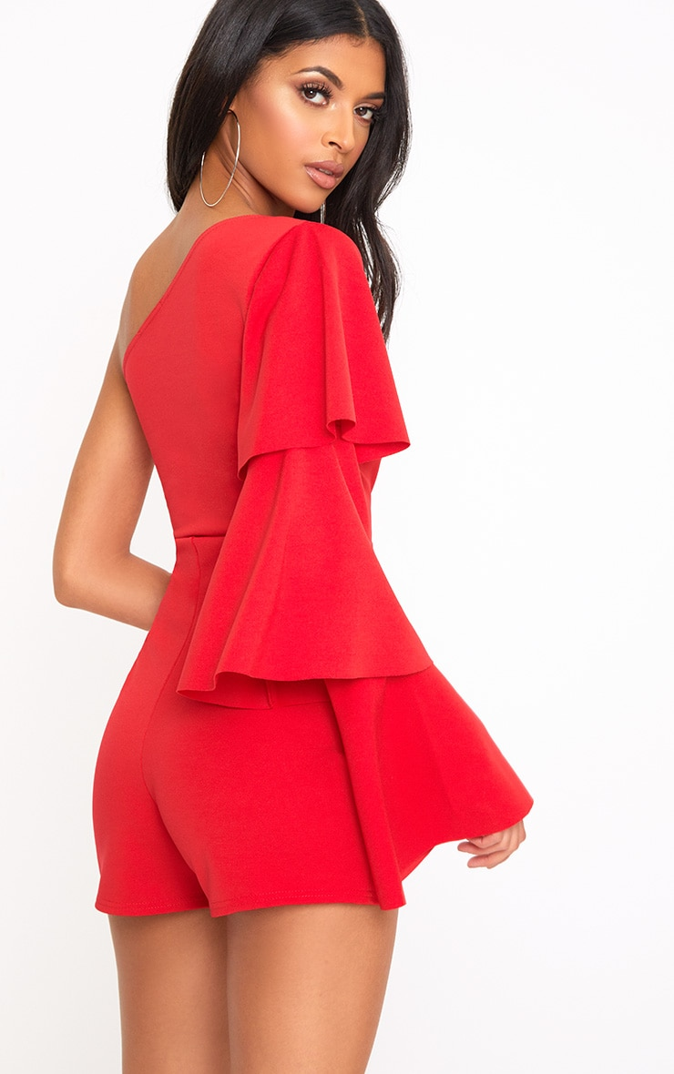 Red One Arm Frill Playsuit  2