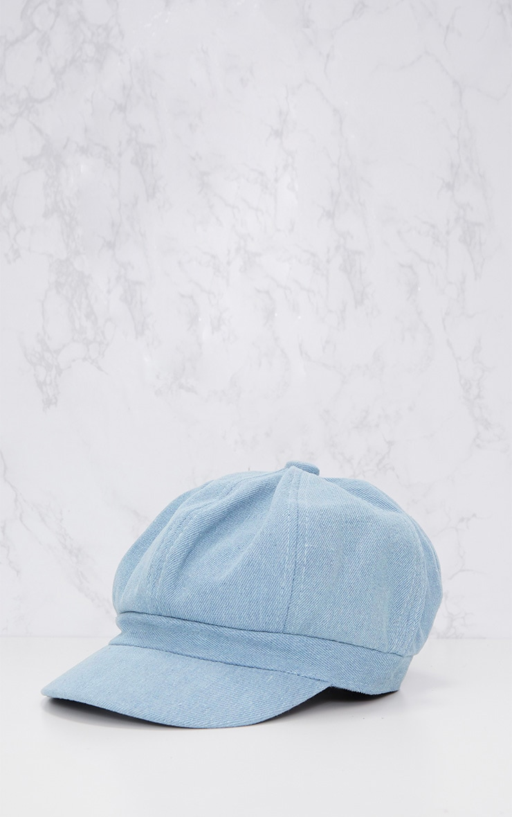 Casquette gavroche en jean bleu clair 3