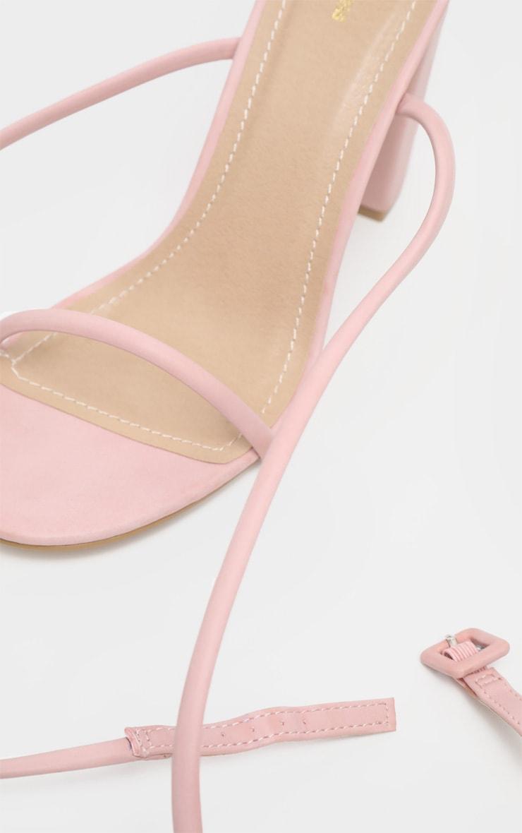 Sandales rose cendré à brides style tube et talon carré 4