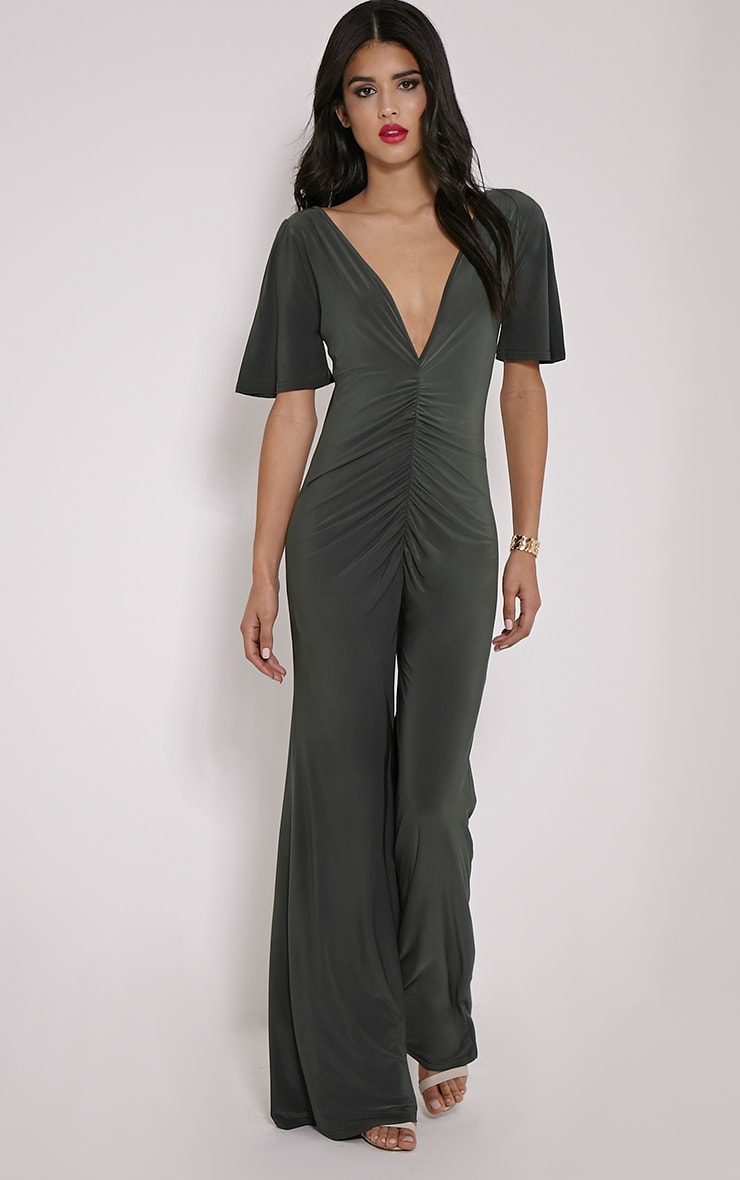 Valora Khaki Slinky Ruched Front Jumpsuit 4