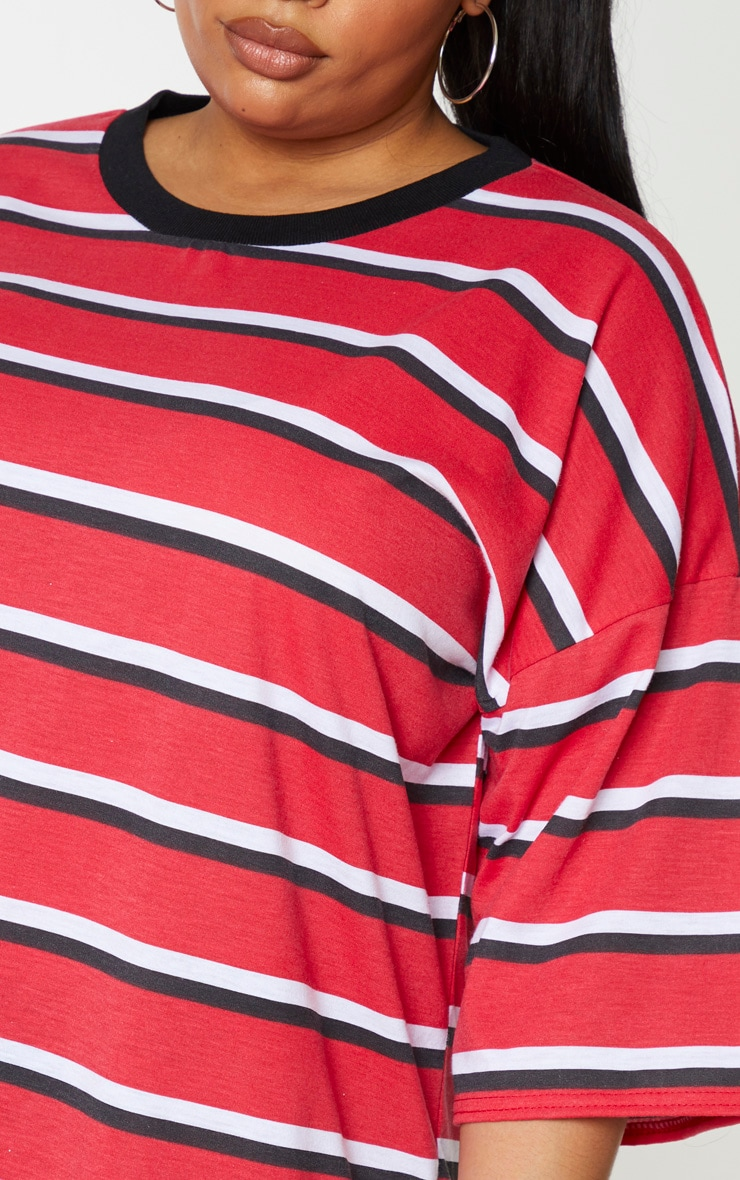 Plus Red Contrast Stripe Oversized Boyfriend T Shirt Dress 4
