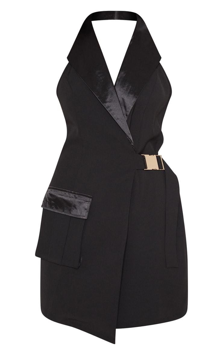 Black Satin Lapel Halterneck Blazer Dress 3