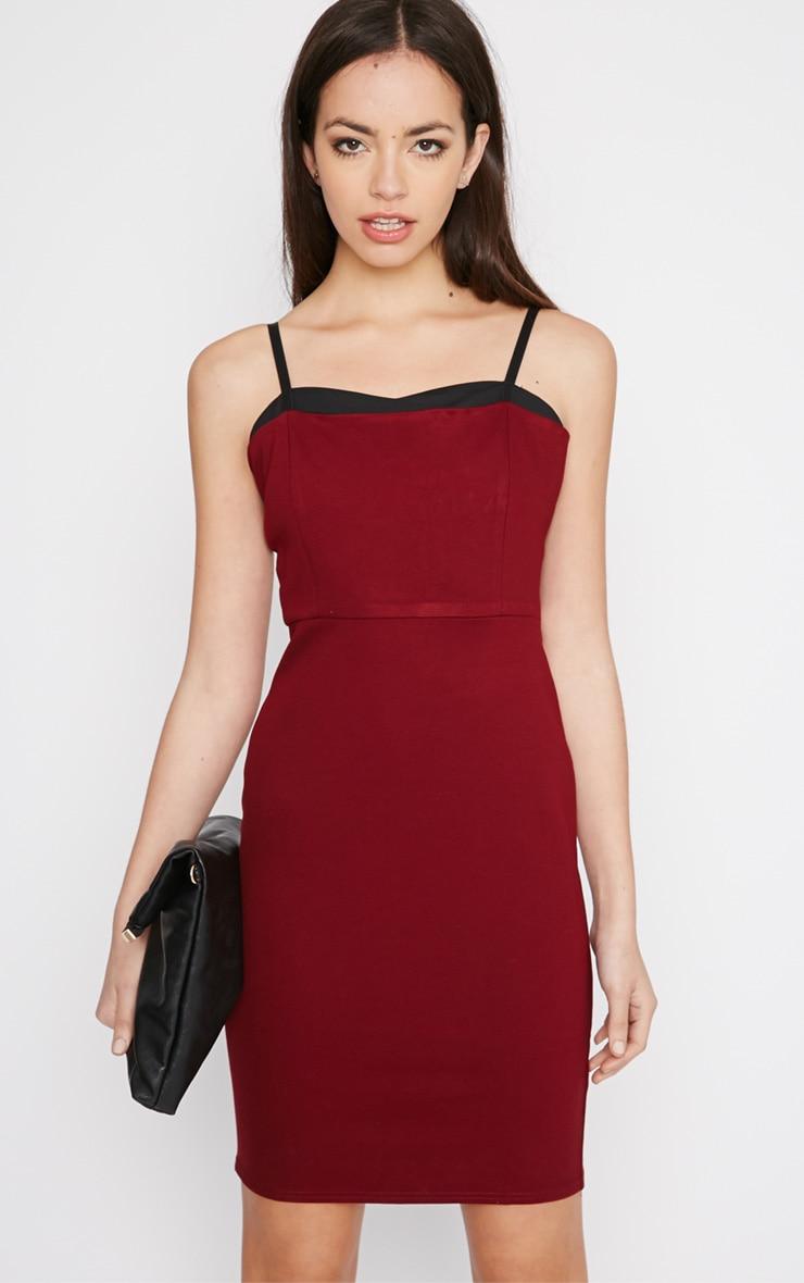 Sasha Burgundy Strappy Bodycon Dress 1