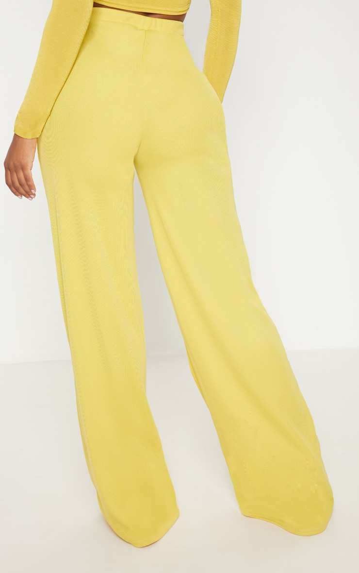 Shape Dark Lime Ribbed Bandage Wide Leg Trousers 4