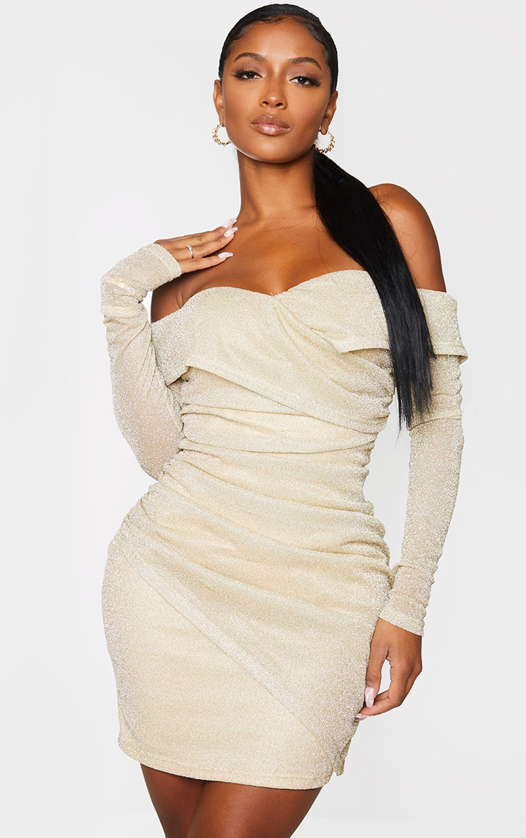 Shape Gold Ruched Off The Shoulder Bodycon Dress 1