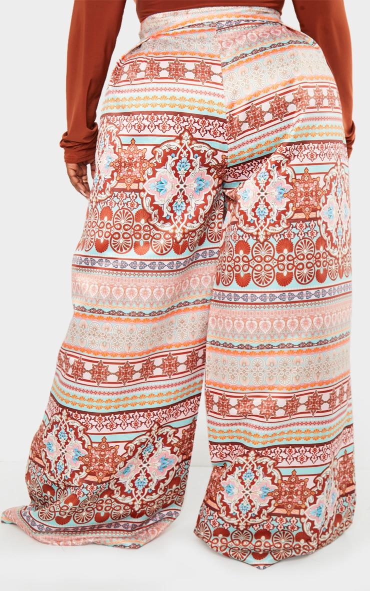 Plus Multi Paisley Print Pleat Detail Wide Leg Trousers 3