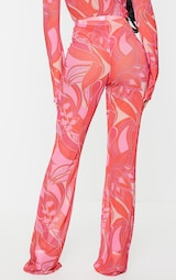 Petite Pink Floral Print Mesh Skinny Fit Flared Trousers 3