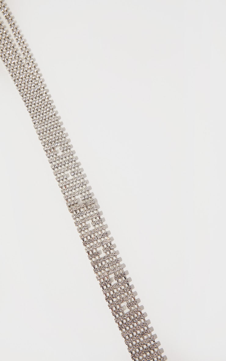 Silver Diamante Tassel Waist Belt 4