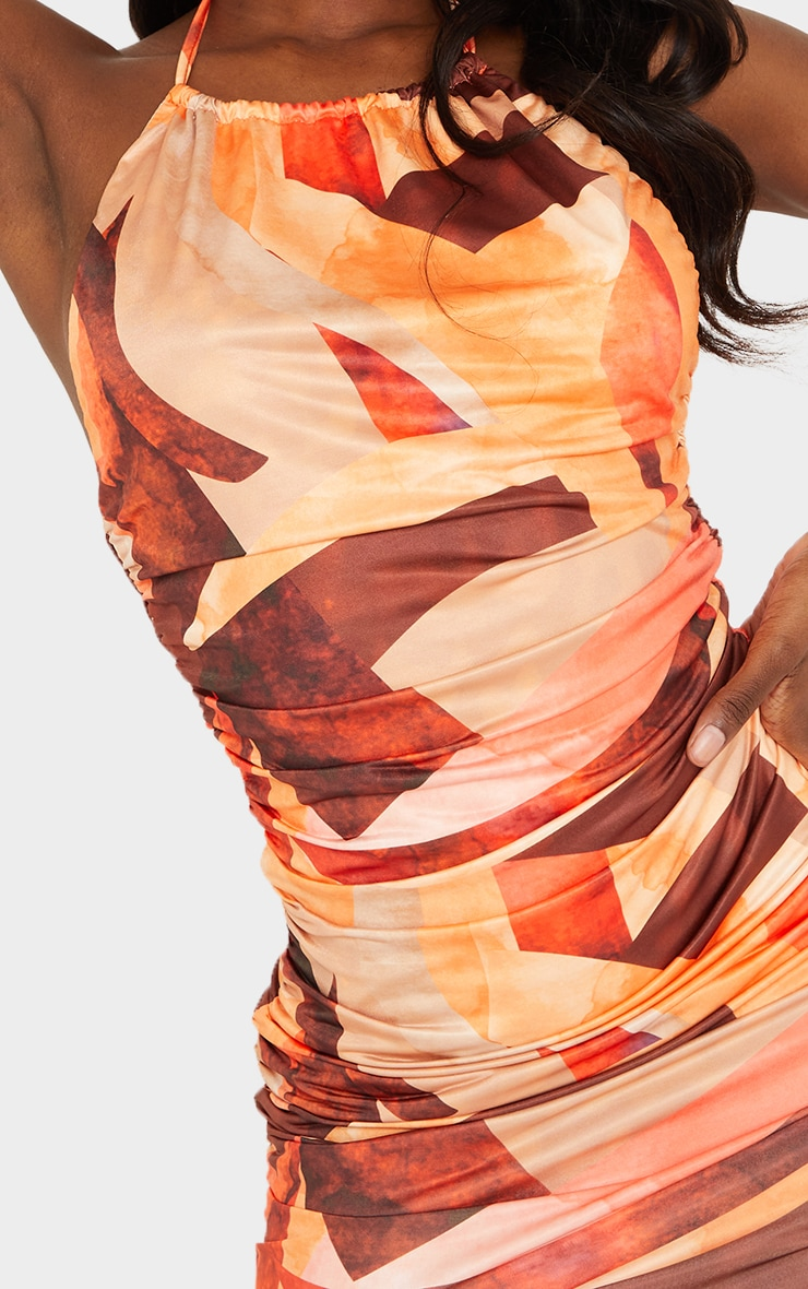 Tall Orange Abstract Print Ruched Detail Bodycon Dress 4