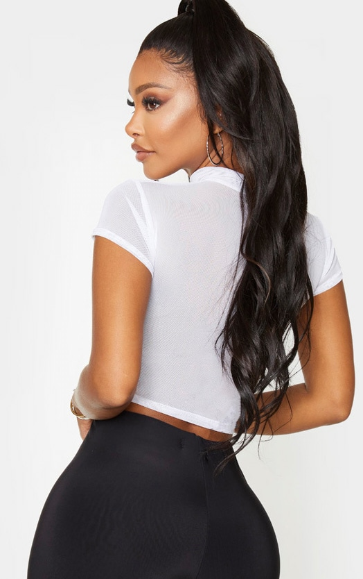Shape White Mesh Panelled High Neck Crop Top 3