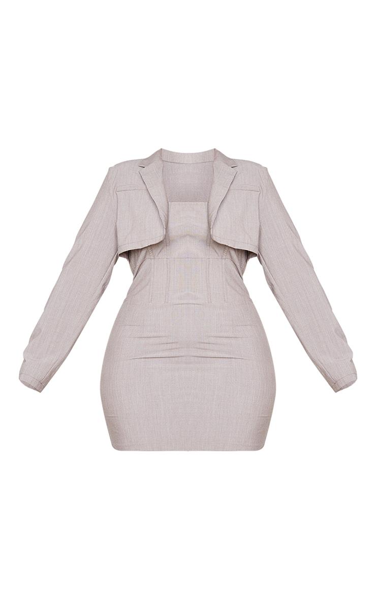 Plus Taupe Corset Style Blazer Dress 5