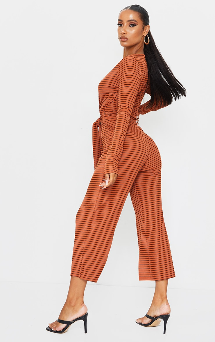 Rust Long Sleeved Striped Rib Wrap Culotte Jumpsuit 2
