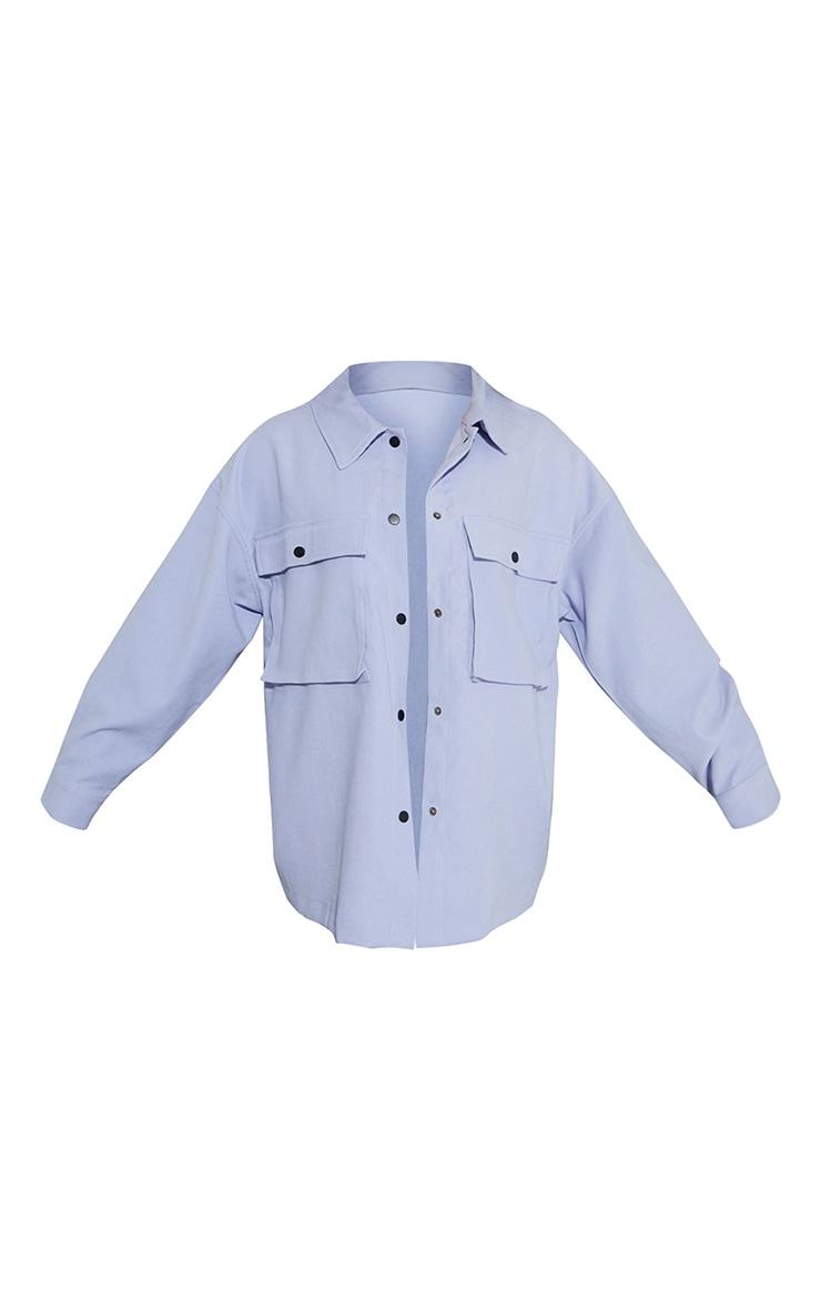 Sky Blue Twill Pocket Detail Oversized Boxy Shirt 5