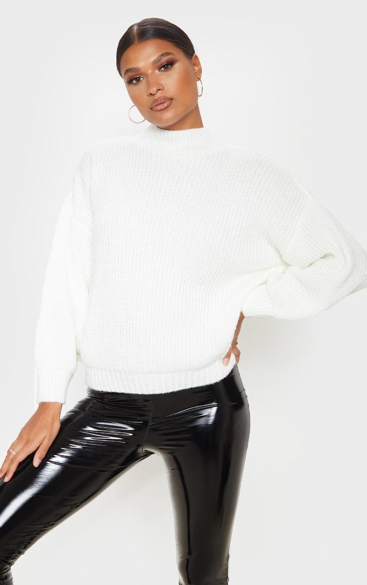 Cream Balloon Sleeve Fluffy Sweater 1