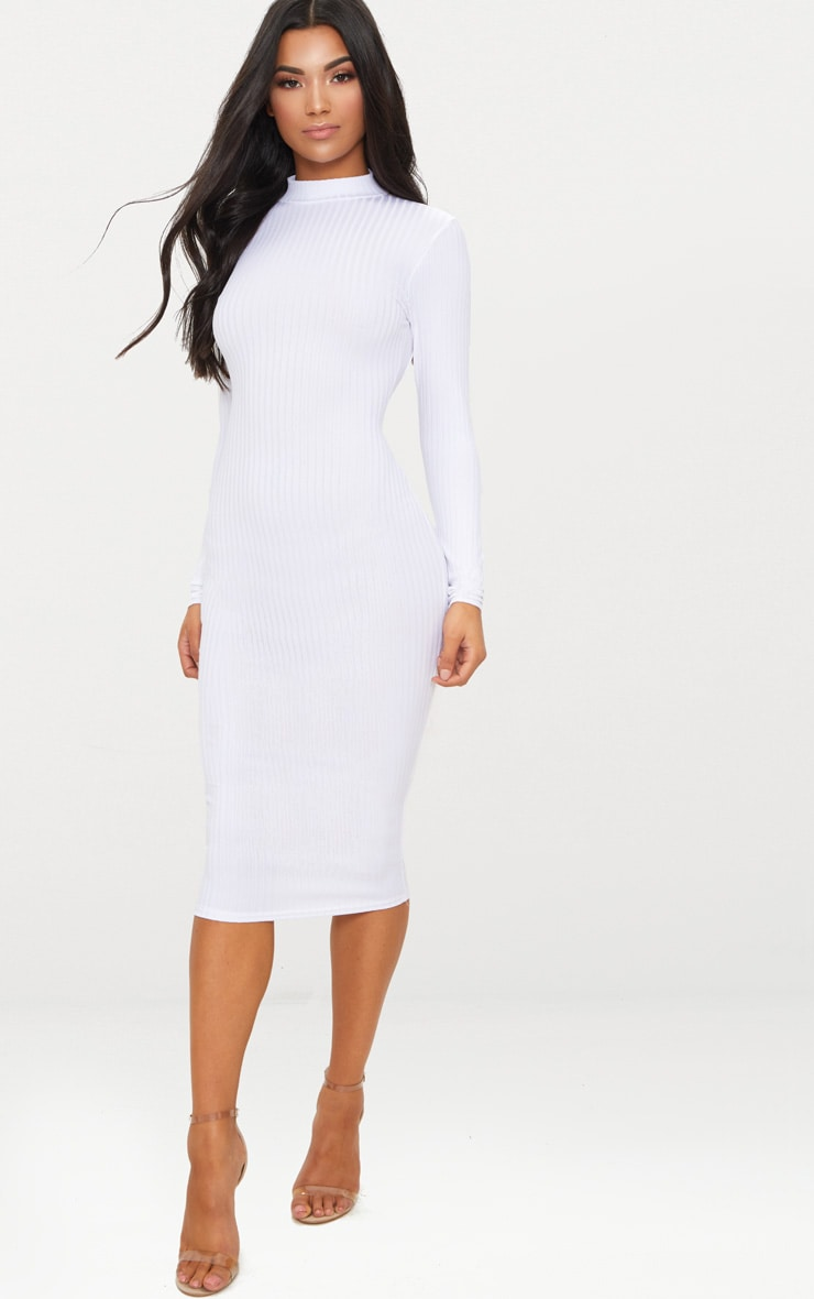 White Rib High Neck Long Sleeve Open Back Midaxi Dress 1