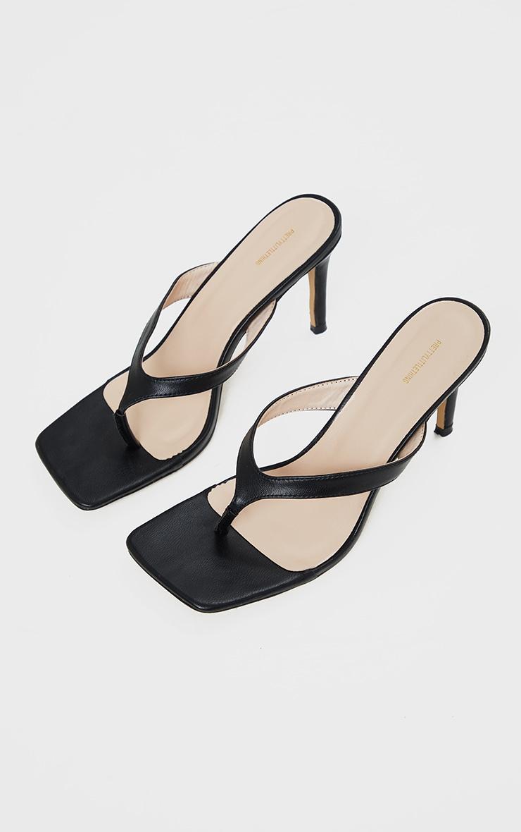 Black Toe Thong Mule Heel 3
