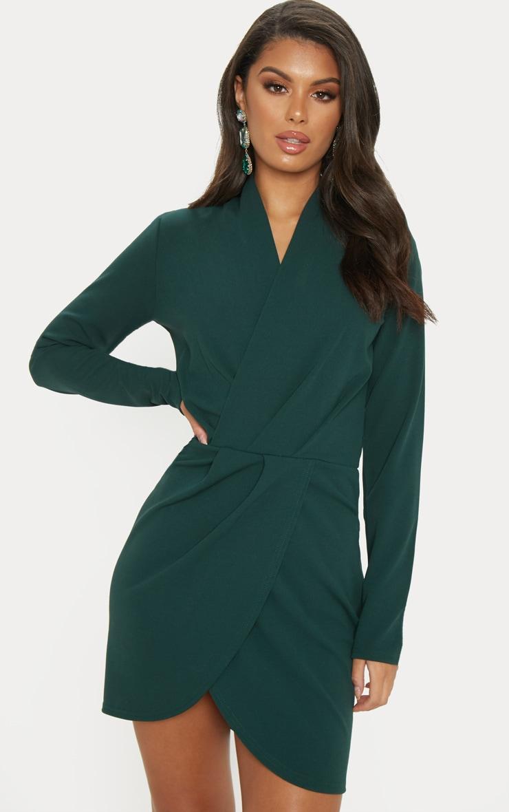 Emerald Green Wrap Front Bodycon Dress 1
