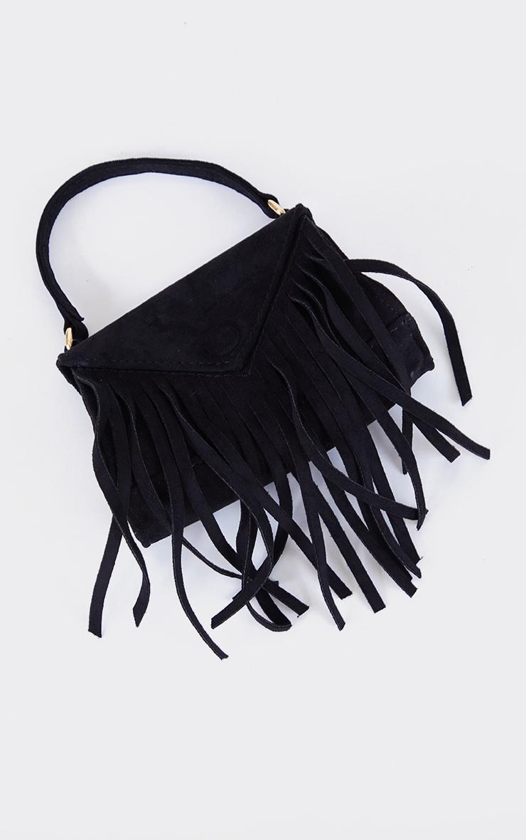 Black Faux Suede Fringe Mini Bag 3