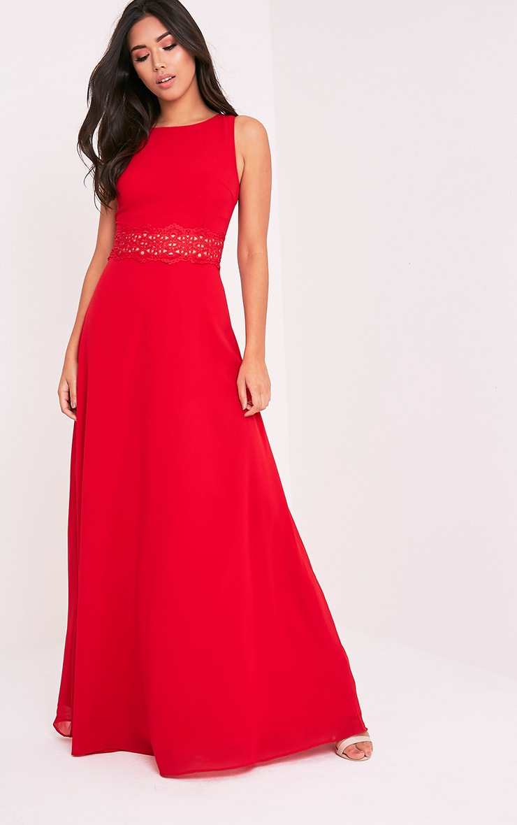 Caitlan Red Lace Insert Maxi Dress 1