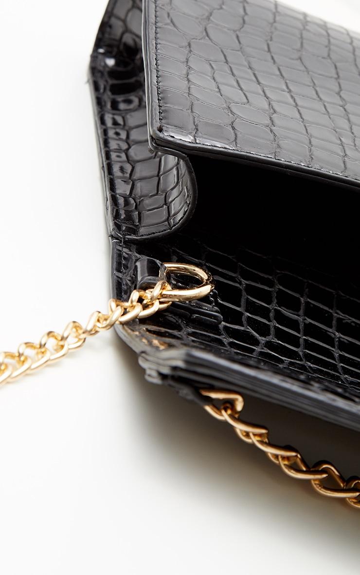 Black Metallic Croc Print Cross Body Bag 3