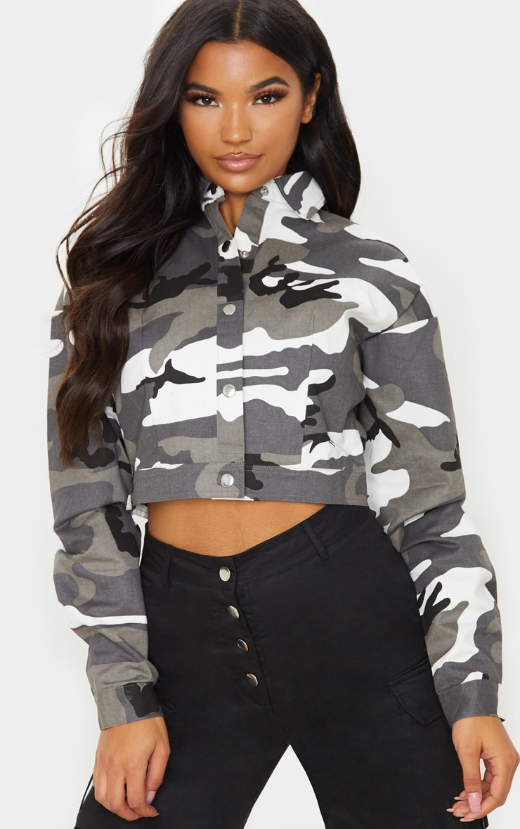 Grey Cropped Camo Trucker Jacket 1