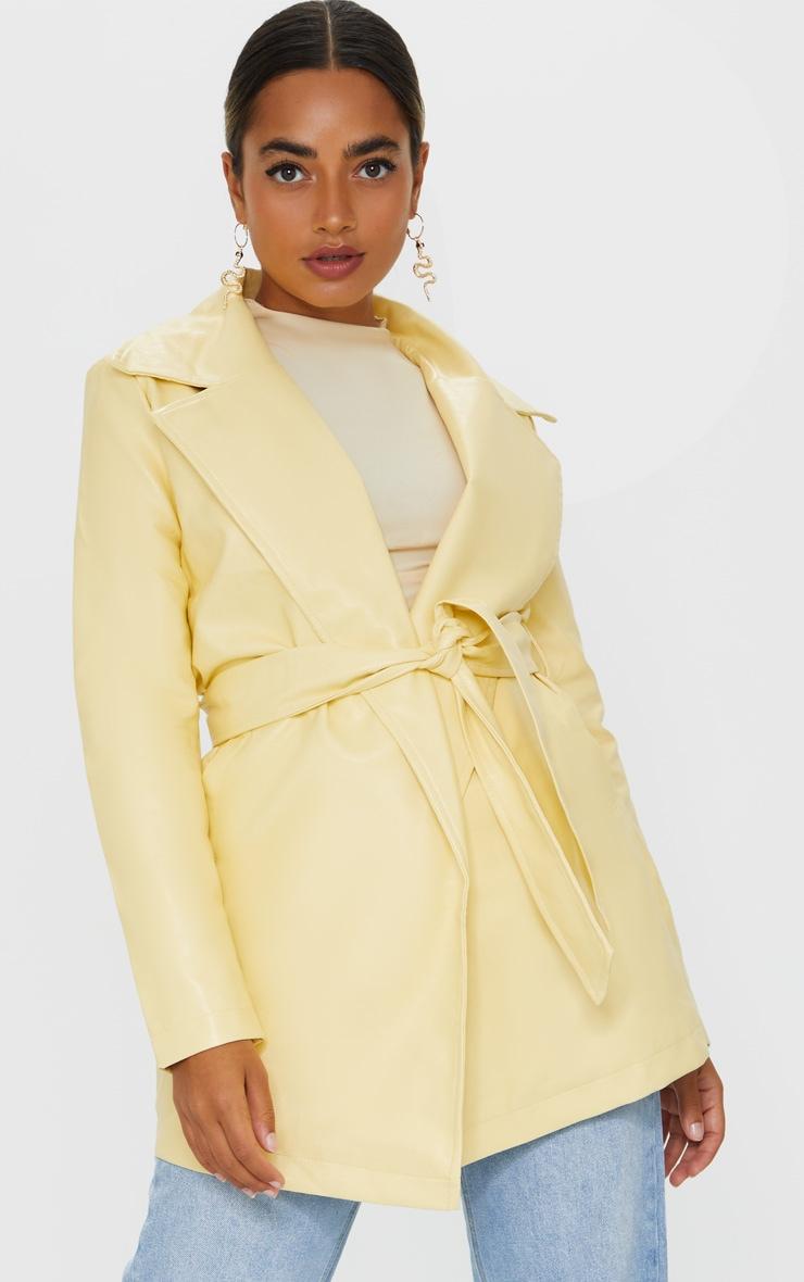 Petite Cream Faux Leather Long Line Tie Waist Blazer 3