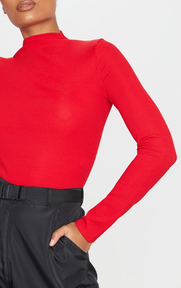 Red Rib Funnel Neck Top 5
