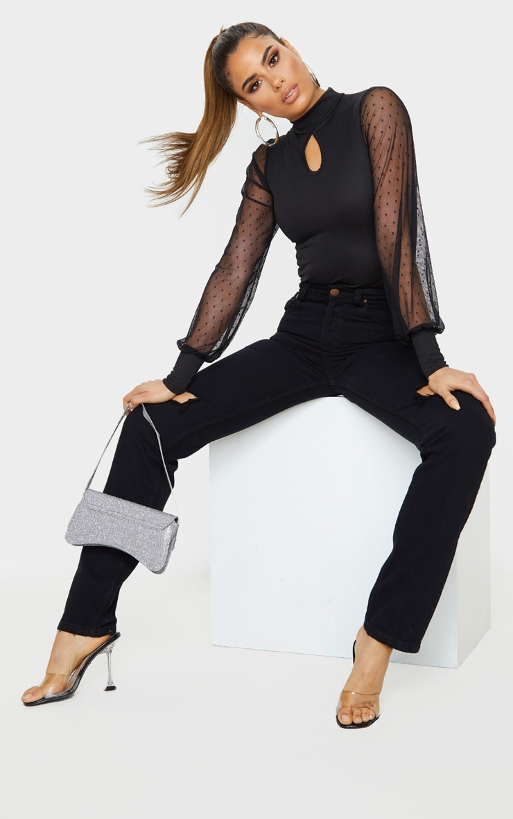 Tall Black Dobby Mesh Sleeve Bodysuit  5