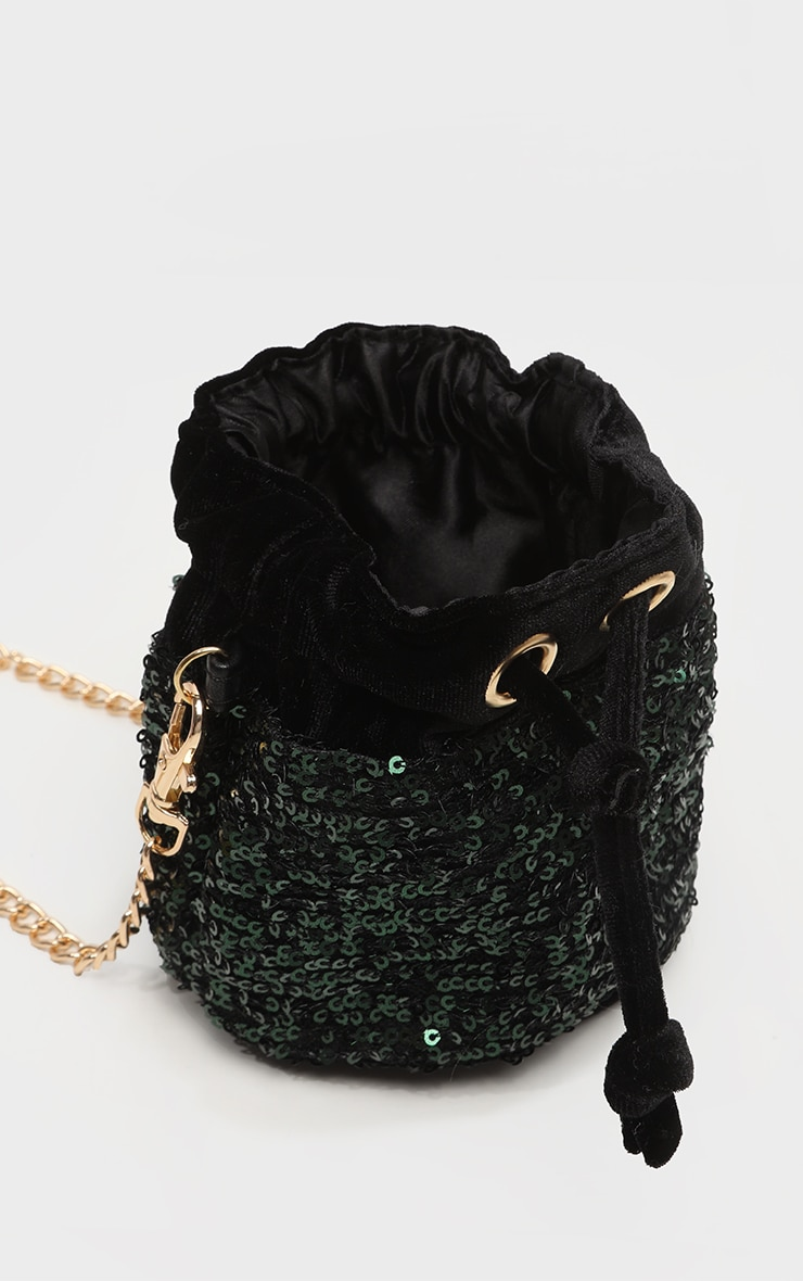 Green Sequin Mini Duffle Bag 4