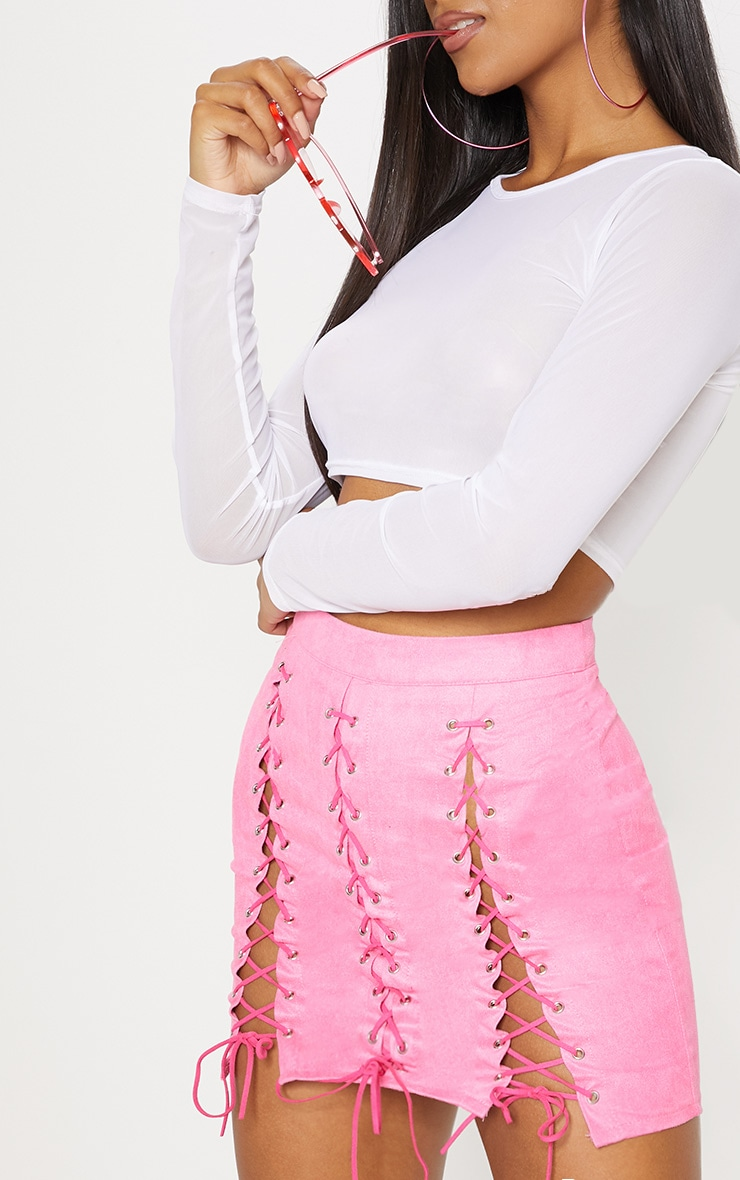 Hot Pink Faux Suede Lace Up Detail Mini Skirt 7