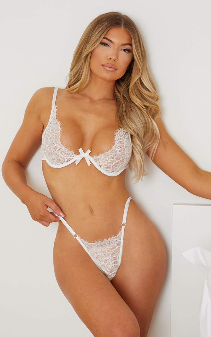 White Underwired Lace Cup Lingerie Set 1