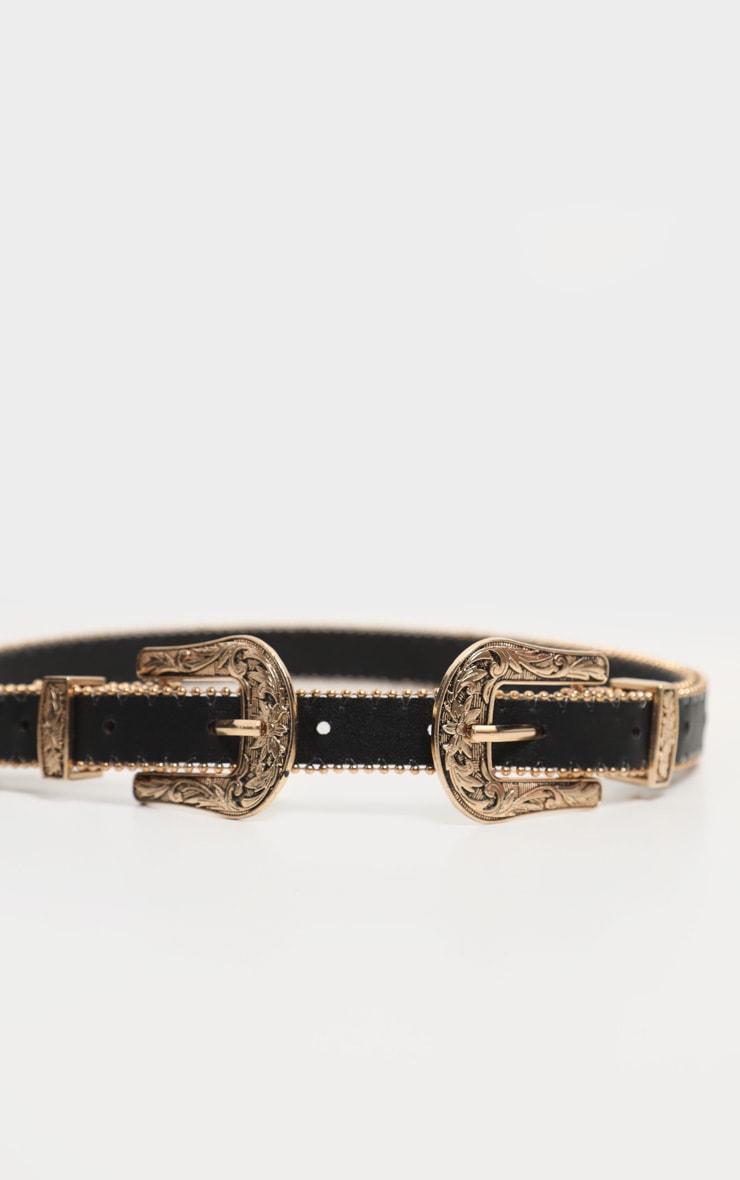Black Skinny Gold Double Western Belt 2