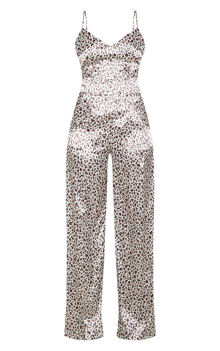 Tall  Stone Abstract Leopard Print Satin Strappy Jumpsuit 3