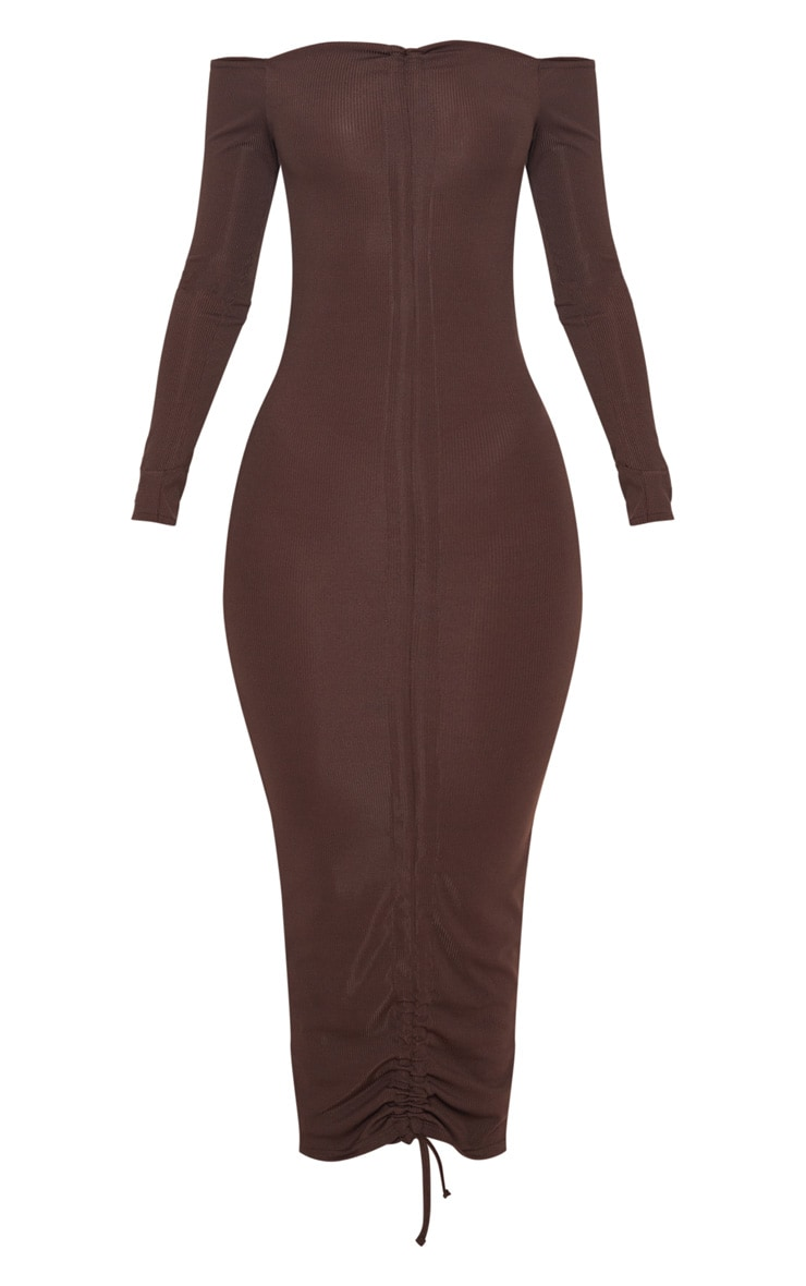 Chocolate Brown Ribbed Ruched Bardot Midi Dress 3