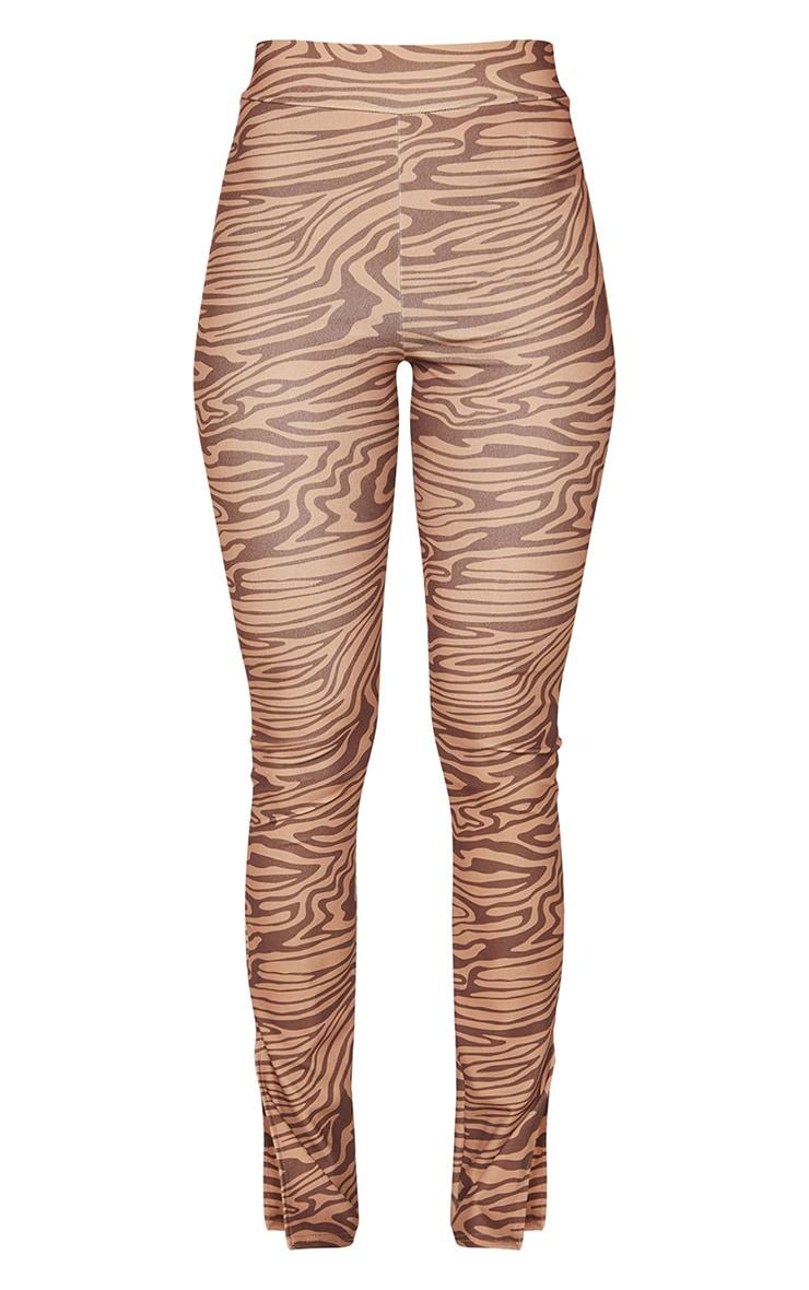 Brown Zebra Print Scuba Split Hem Leggings 5