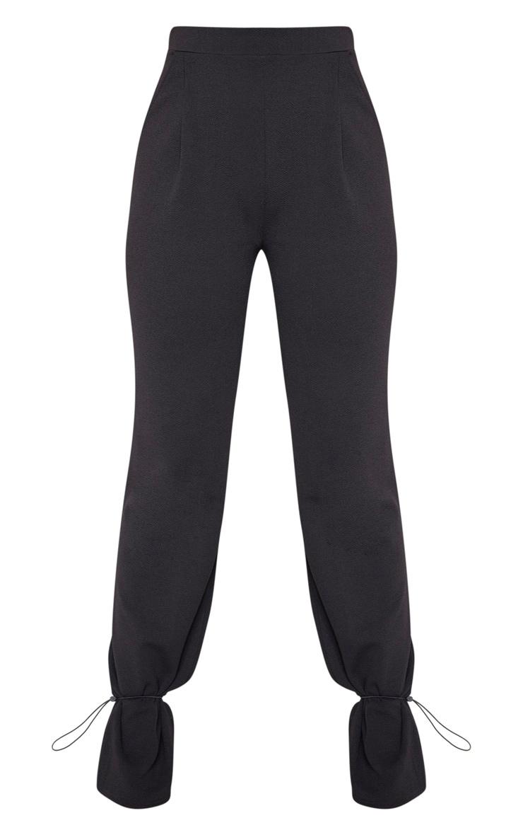 Black Crepe Toggle Hem Pants 3