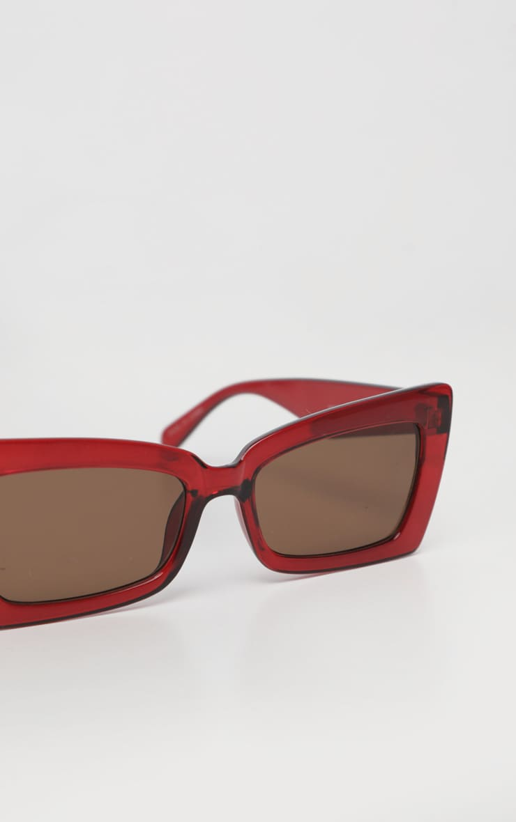 Red Oversized Angular Square Sunglasses 4