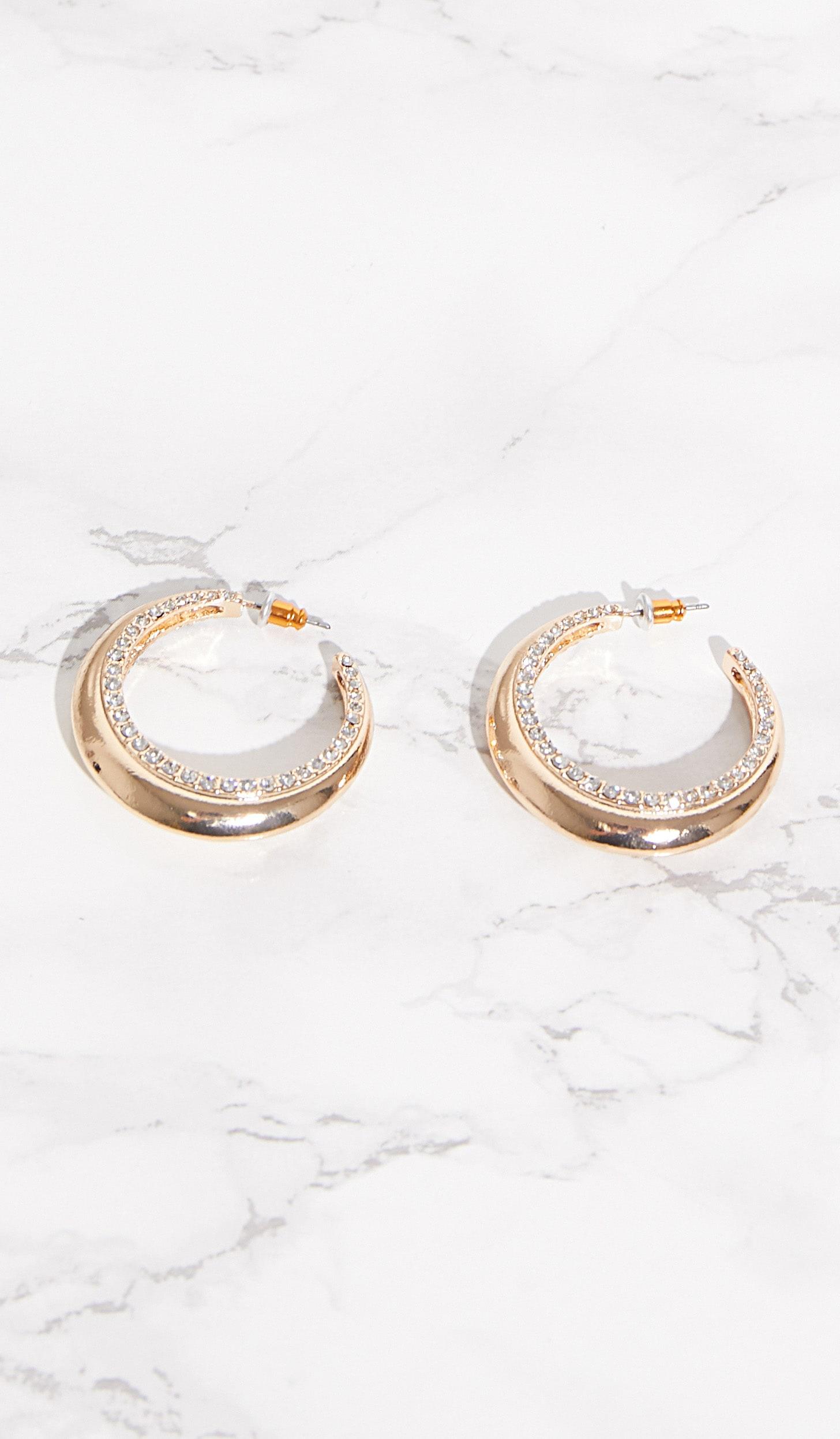 Gold Diamante Thick Hoop Earrings 3