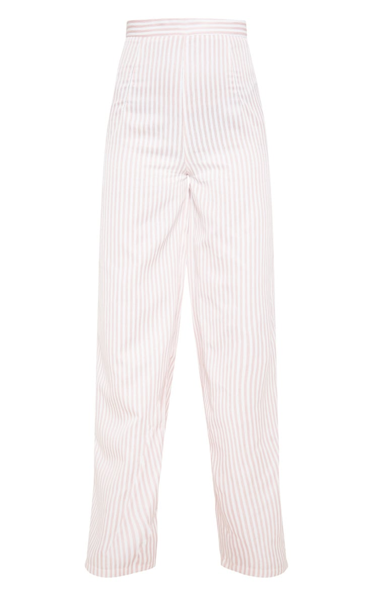 Baby Pink Woven Stripe Wide Legged Trouser  3