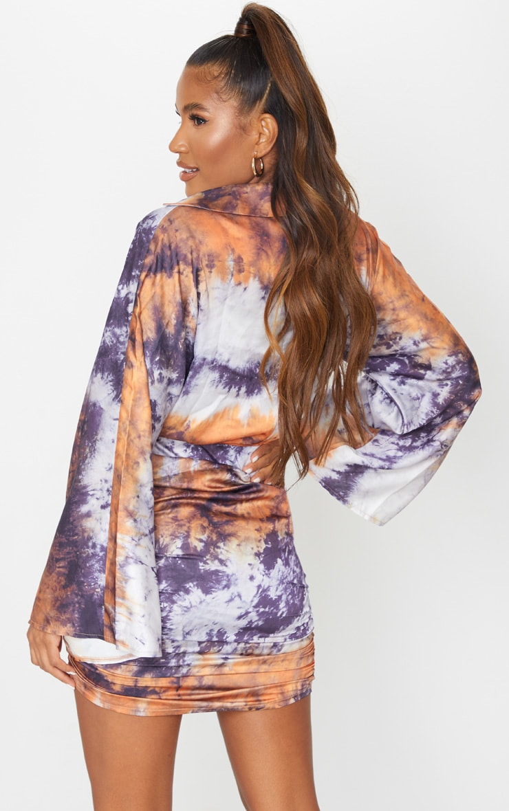 Multi Tie Dye Satin Ruched Skirt Flared Sleeve Bodycon Dress 2