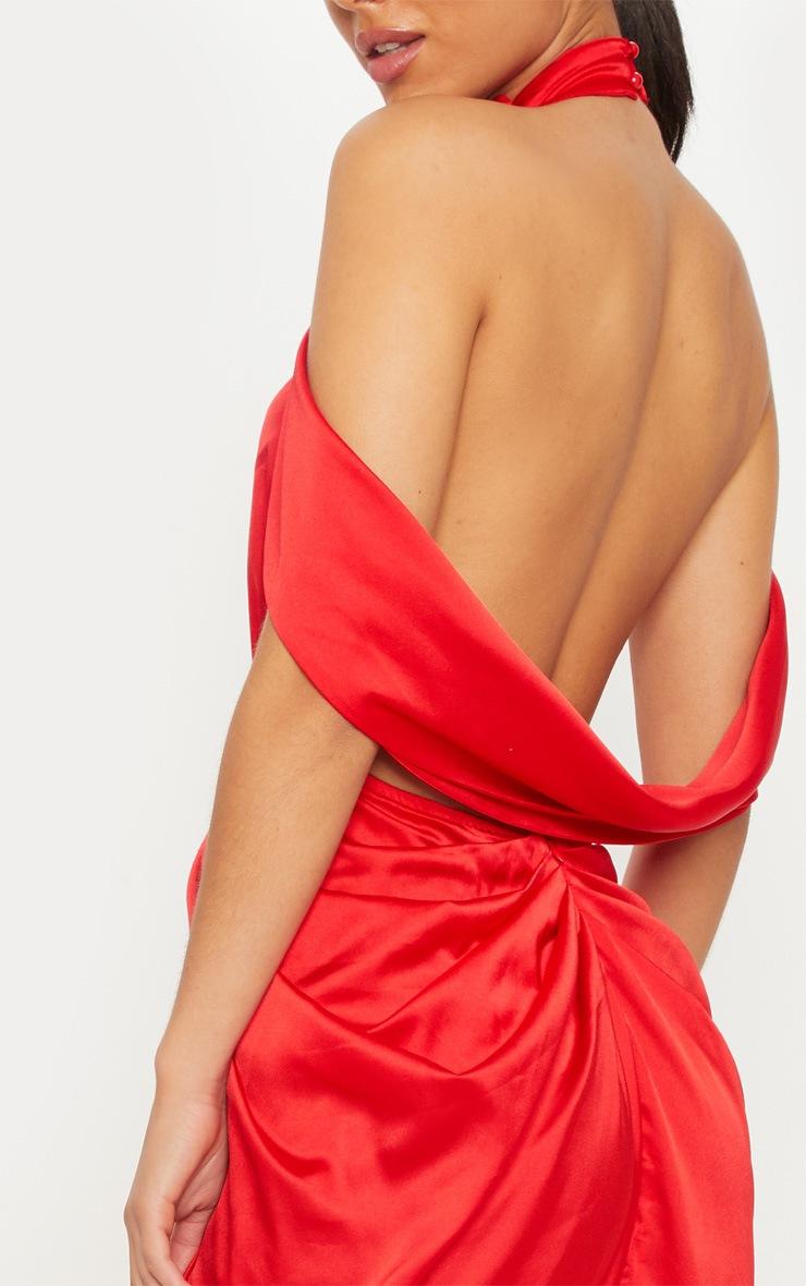 Red Satin Drape Detail Maxi Dress 4