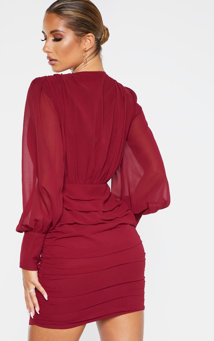 Burgundy Long Sleeve Chiffon Ruched Bodycon Dress 2