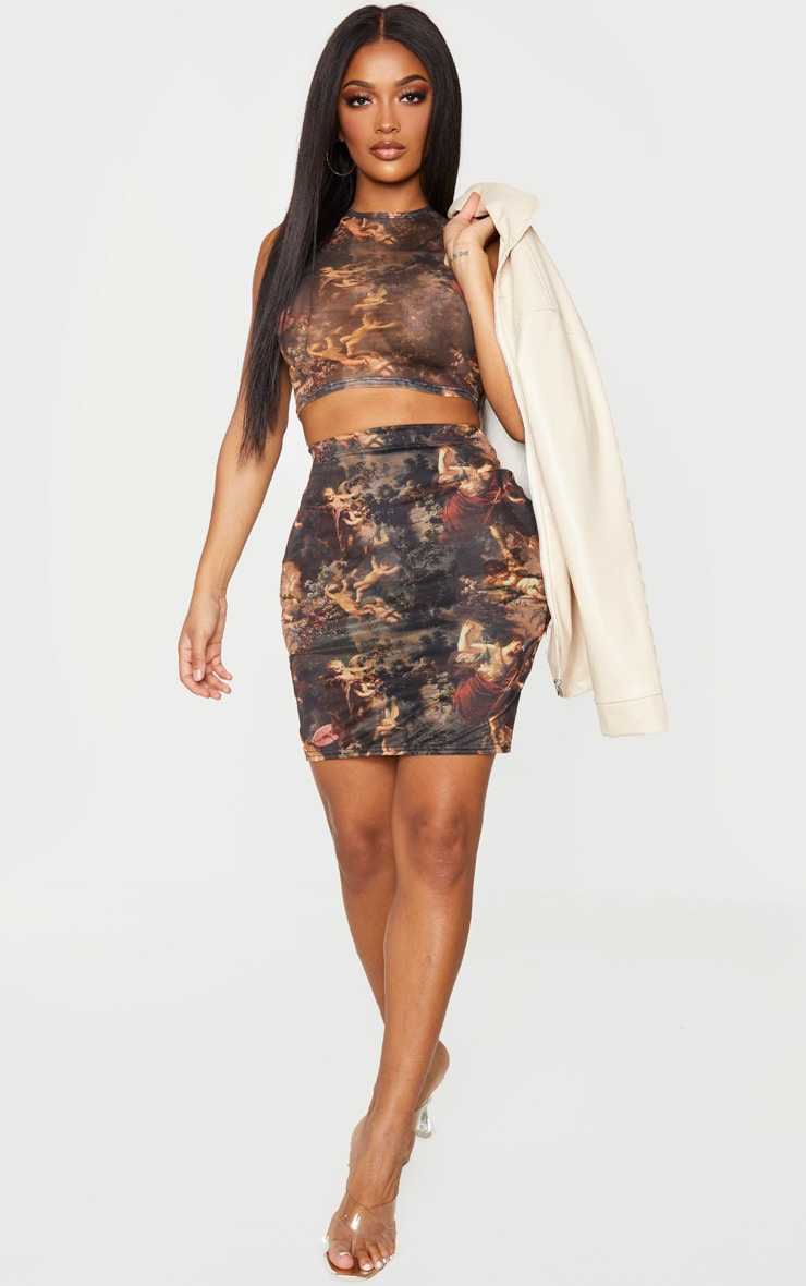 Shape - Crop top en mesh transparent imprimé Renaissance marron 3