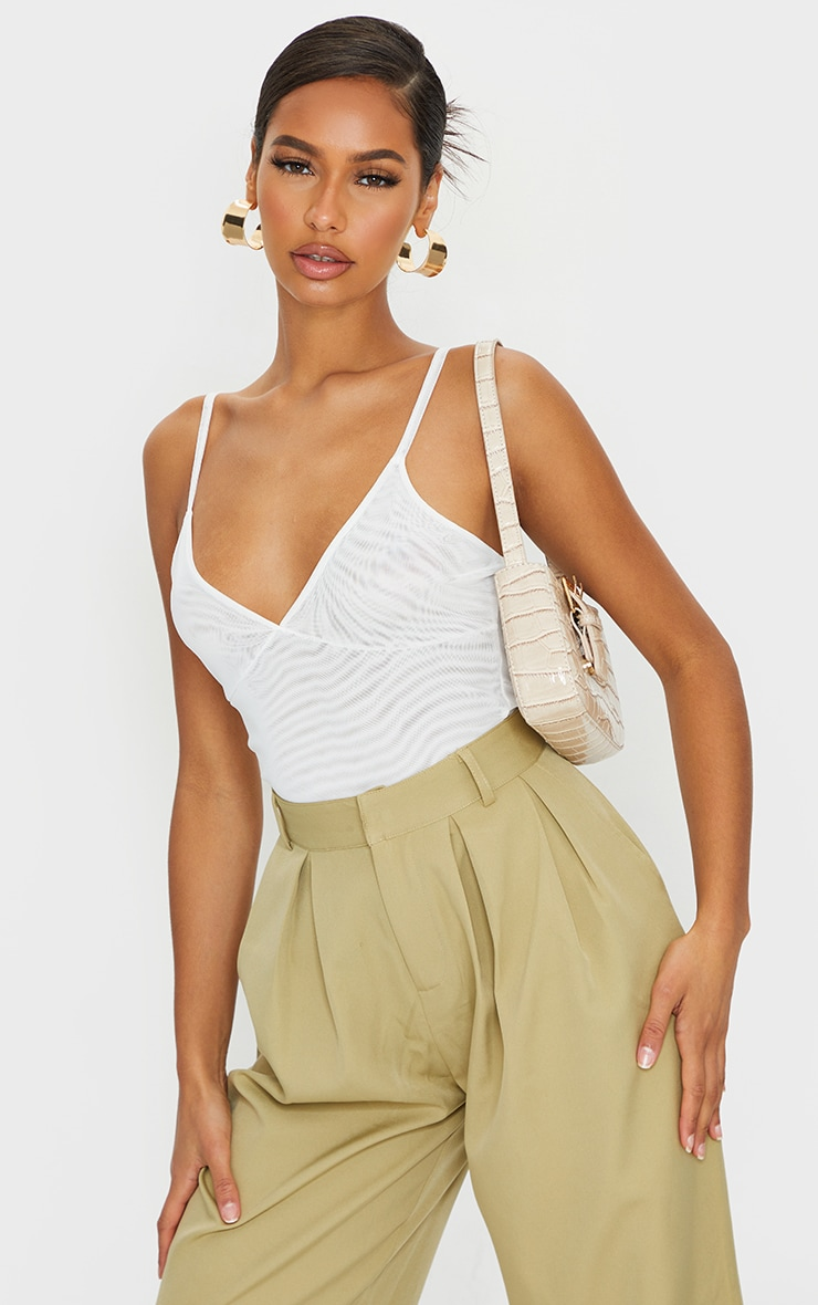 Cream Mesh Plunge Strappy Bodysuit 1
