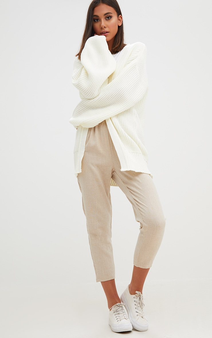 Cream Chunky Long line Knitted Cardigan 4