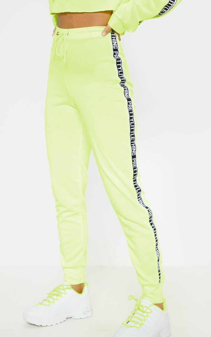 PRETTYLITTLETHING Petite Neon Lime Joggers 2