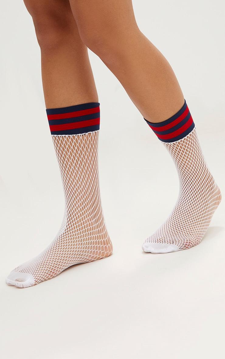 White Sports Stripe Fishnet Socks 2