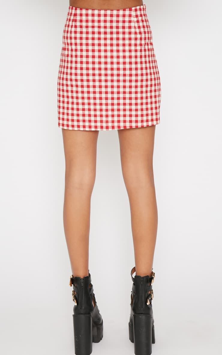 Maddie Red Checked Skirt 2