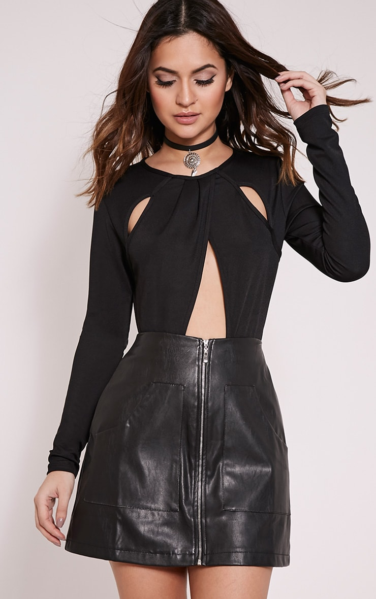 Madaline Black Metallic Pocket Front Mini Skirt 1