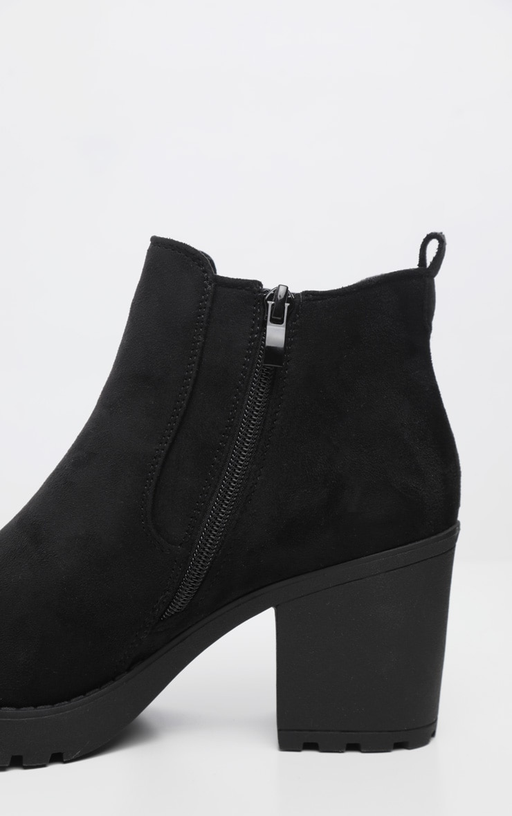 Black Faux Suede Cleated Chelsea Ankle Boots 4